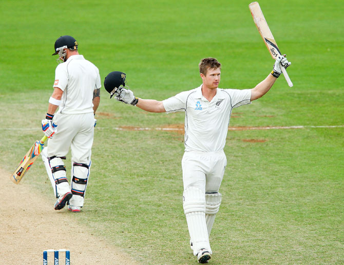 Neesham celebrates after getting to a hundred