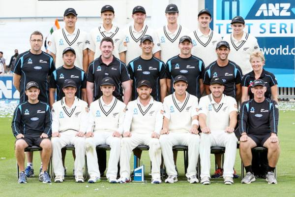 New Zealand players and management pose for a team photo