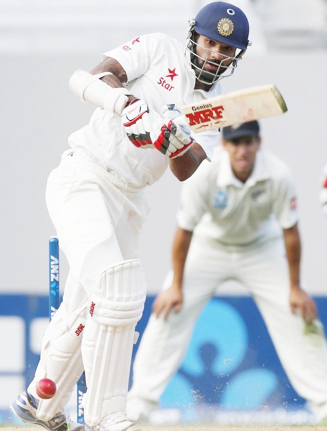 Shikhar Dhawan bats in the first Test