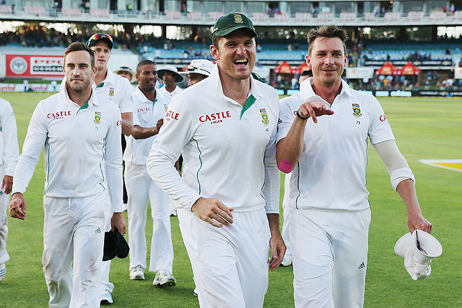Graeme Smith and Dale Steyn of South Africa celebrate after winning the second Test against Australia at St George's Cricket Stadium in Port Elizabeth on Sunday