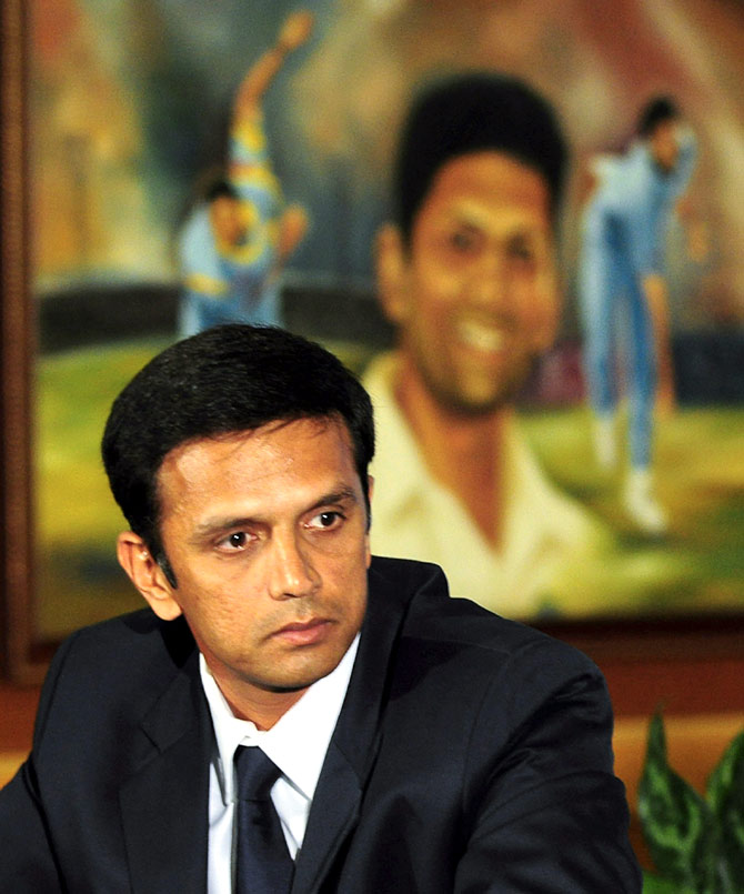 Rahul Dravid speaks to the media as he announces his retirement
