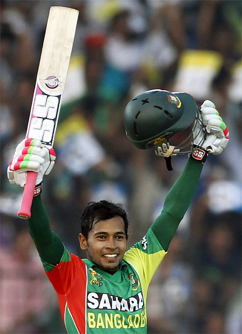 Bangladesh captain Mushfiqur Rahim celebrates after scoring a century against India