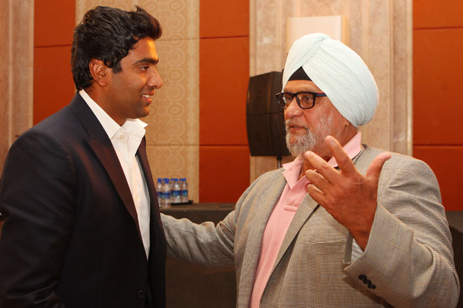 R Ashwin with Bishen Singh Bedi, the greatest left-arm spinner of all-time.