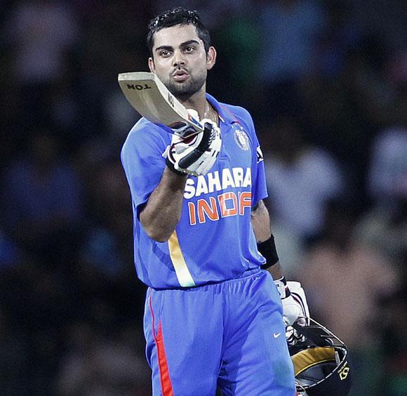 India's Virat Kohli celebrates