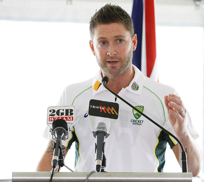 Australian Cricket captain, Michael Clarke addresses guests during the Australia cricket team visit at Kirribilli House in Sydney on Wednesday