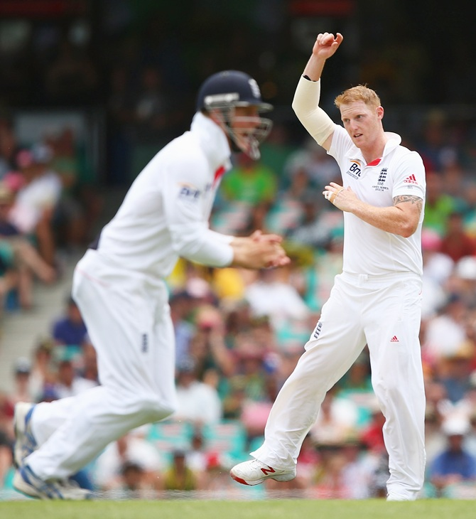 Ben Stokes celebrates dismissing Australia captain Michael Clarke