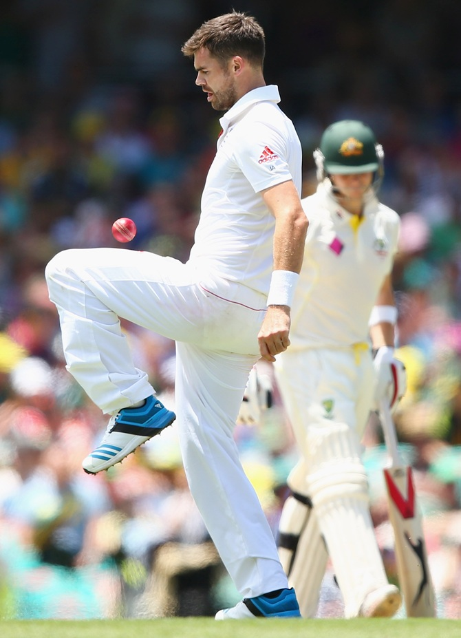 England bowler James Anderson controls the ball with his knee
