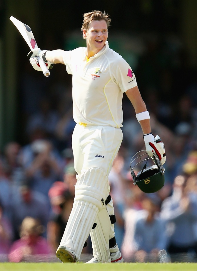 Australia's Steve Smith celebrates after reaching his century