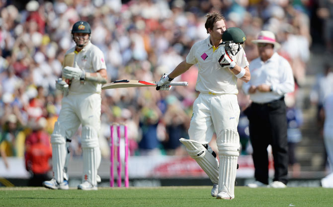 Steve Smith of Australia celebrates reaching his century