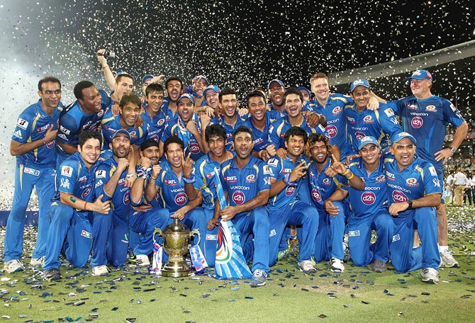 Mumbai Indians celebrate after winning IPL 6