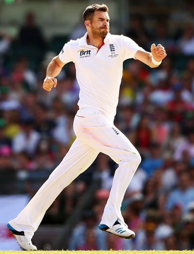 James Anderson of England celebrates taking the wicket of Shane Watson of Australia