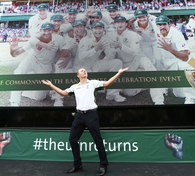 Chris Rogers dances on stage during the celebrations