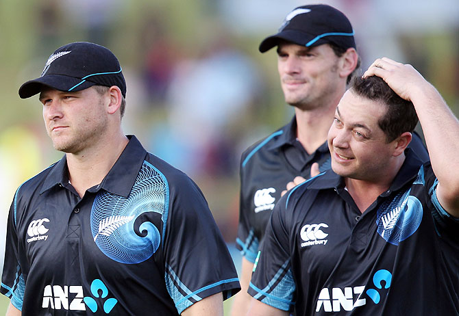 New Zealand players (Left to Right) Corey Anderson, Kyle MIlls and Jesse Ryder