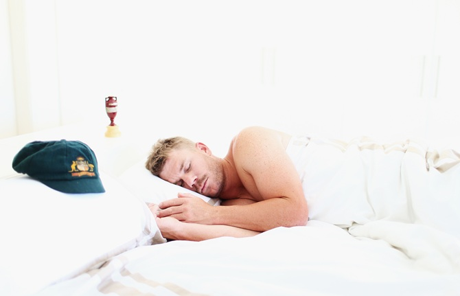 PHOTOS: David Warner sleeps with the Ashes urn
