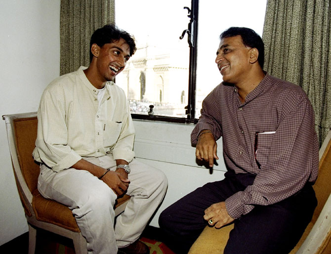 Sunil Gavaskar of India bonding with his son Rohan in this file photo
