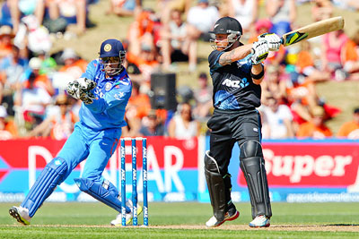 Brendon McCullum of New Zealand is caught behind by MS Dhoni of India during their first One-Day International at McLean Park in Napier on Sunday