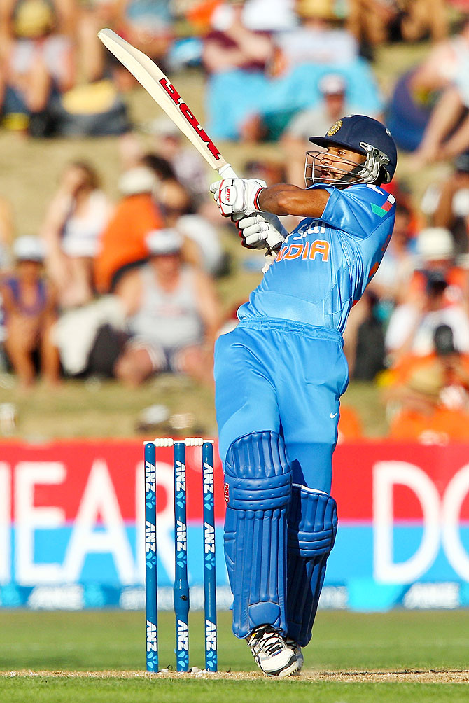 Shikhar Dhawan of India bats