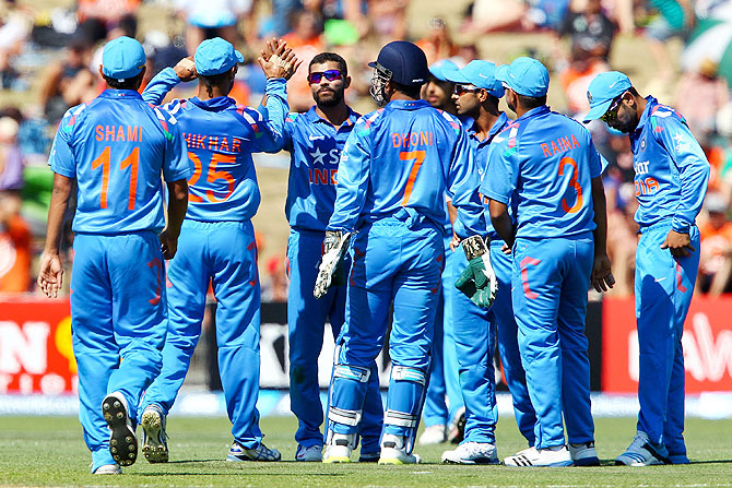 Ravindra Jadeja celebrates the wicket of Kane Williamson on Sunday