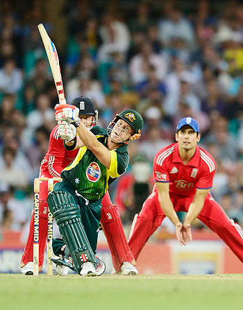 David Warner of Australia bats against England at the Sydney Cricket Ground in Sydney on Sunday