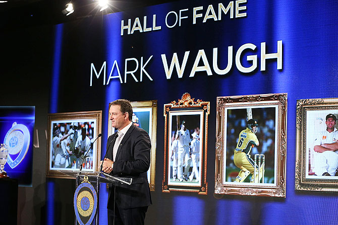 Mark Waugh speaks after being inducted into the Australian Cricket Hall of Fame during the 2014 Allan Border Medal at Doltone House in Sydney on Monday