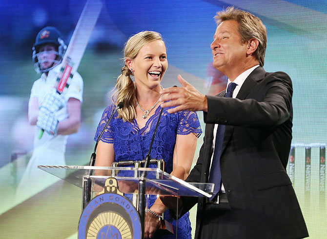 Meg Lanning talks to host Mark Nicholas on stage after winning the Belinda Clark Award during the 2014 Allan Border Medal at Doltone House on Monday