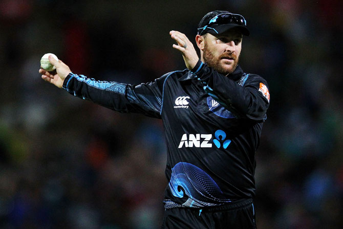 Brendon McCullum of New Zealand directs his team at Seddon Park