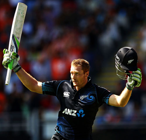 Martin Guptill of New Zealand celebrates his century