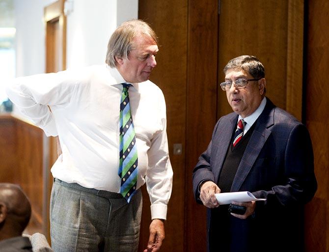 BCCI president N Srinivasan with ECB chairman Giles Clarke