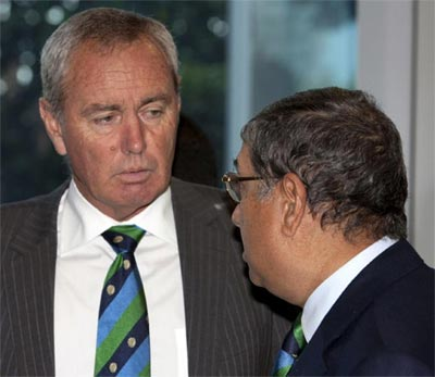 ICC president Alan Isaac and BCCI chief N Srinivasan