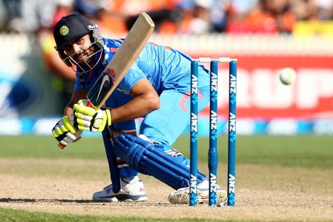 Ravindra Jadeja plays a shot