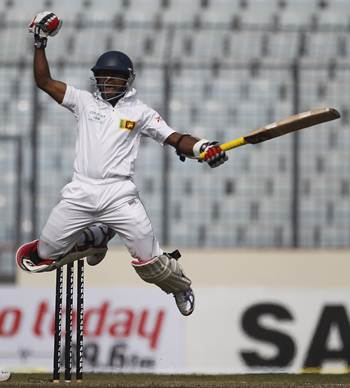 Kaushal Silva celebrates after scoring his maiden Test hundred