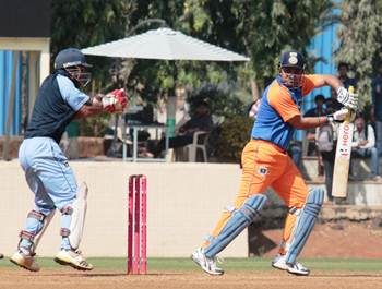 Virender Sehwag in action for Comptroller &Auditor General of India against Mumbai Customs, in the Dr D.Y. Patil T20 Cup.