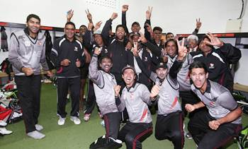 Members of the United Arab Emirates team celebrate after qualifying for the World Cup