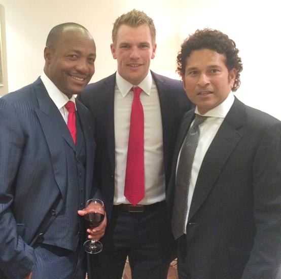 (Left to right): Brian Lara, Aaron Finch and Sachin Tendulkar