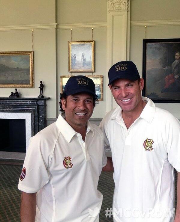 Sachin Tendulkar (left) with Shane Warne