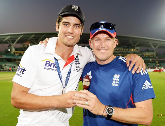 England captain Alastair Cook (left) with Andy Flower