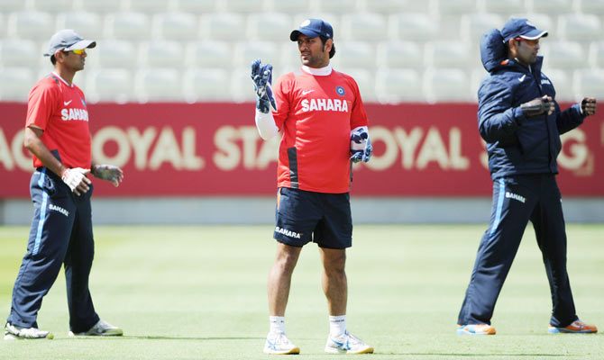 Rahul Dravid, MS Dhoni and VVS Laxman during a nets session