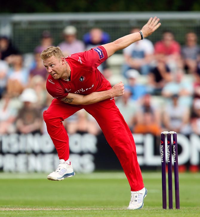 Andrew Flintoff of Lancashire in action