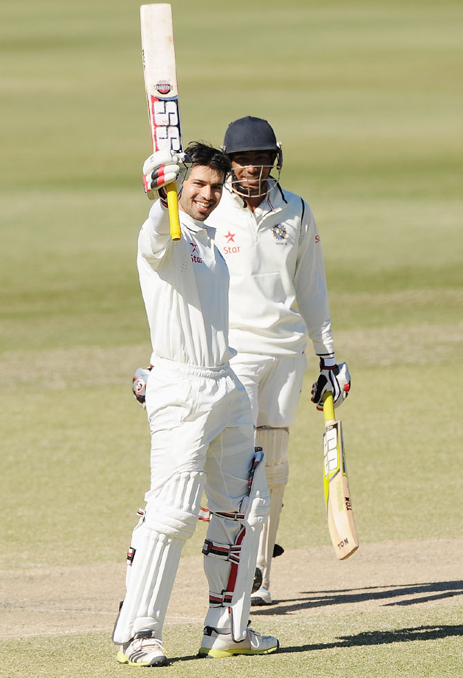 Naman Ojha of India 'A' celebrates scoring a double century during the Quadrangular Series match against Australia 'A' at the Allan Border Field in Brisbane on Monday
