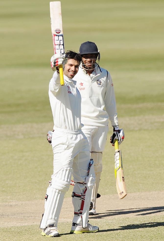 Naman Ojha of India 'A' celebrates scoring a double century during the Quadrangular Series match against Australia 'A' at the Allan Border Field in Brisbane on Monday