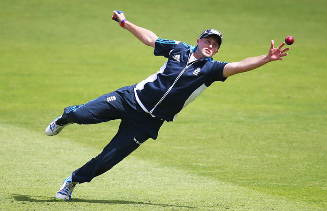 Joe Root of England in action during an England nets session on Monday