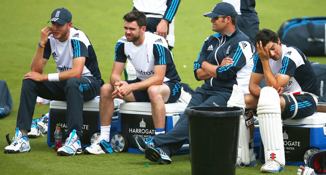 England's Stuart Broad, James Anderson and Alastair Cook during an England nets session on Monday