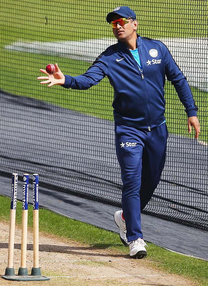 MS Dhoni of India in action during a India nets session at Trent Bridge on Monday