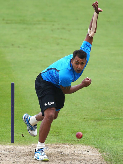 Stuart Binny of India in action during a India nets session ahead of the first Test at Trent Bridge