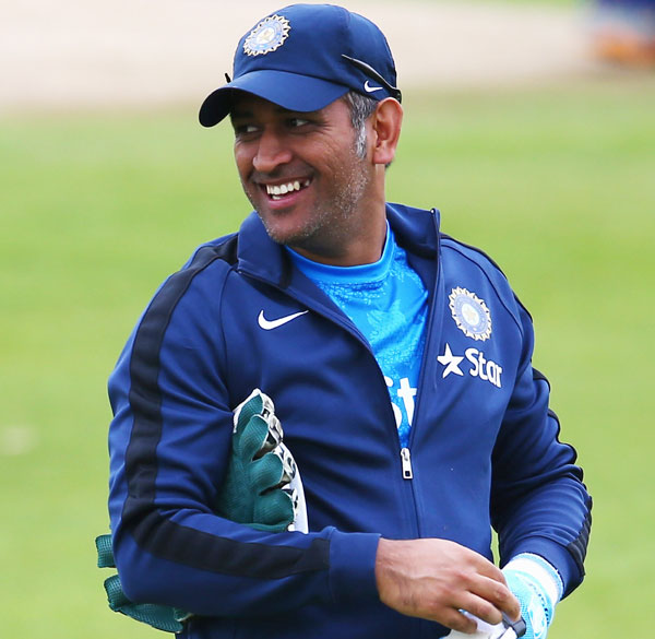 MS Dhoni of India looks on during a nets session