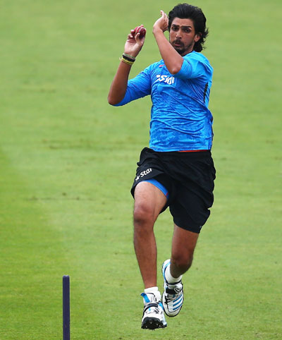 Ishant Sharma of India in action during a nets session ahead of the first Test at Trent Bridge