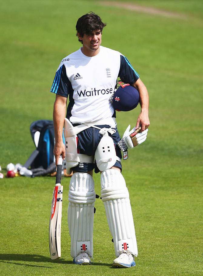 Alastair Cook looks on during an England nets session ahead of the first Investec Test at Trent Bridge