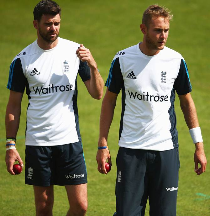 England pcaers James Anderson (left) and Stuart Broad during an England nets session ahead of the first Investec Test