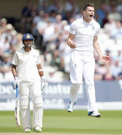England pacer james Anderson celebrates after dismissing India opener Shikhar Dhawan