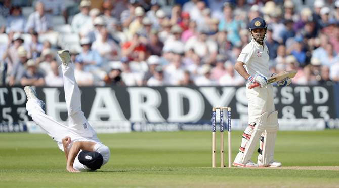 Alastair Cook takes a superb catch to dismiss Ajinkya Rahane